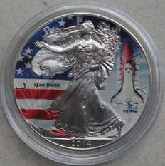 USA - 1 dollar 2014 'American Eagle / Space Shuttle' in colour - 1 oz silver