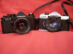 fuji  st 605 n con fujinon 55mm + chinon ce 3 memotron con chinon 55mm +vivitar 135mm 1:2.8 + flash philips 38ctb