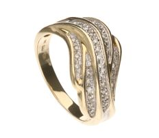 14 kt yellow gold ring, set with 36 brilliant cut diamonds of approx. 0.0005 ct each - ring size 20 mm
