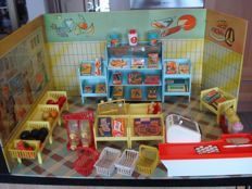 """""""Self-service children's shop"""", a brand name FUCHS, 1962, plastic with tin wall and floor"""