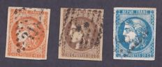 France 1870 – Yvert #45A, 47 and 48