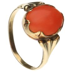 14k yellow gold ring set with oval cut red coral - Ring size 15 mm