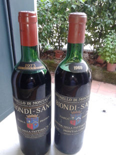 1969 & 1973 Brunello di Montalcino, Biondi Santi - total of 2 bottles