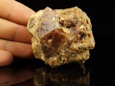 Bicolor purple-brown big Zircon crystal combination (purple color - rare) - 6,5 x 6,0 x 3,5cm - 201gm