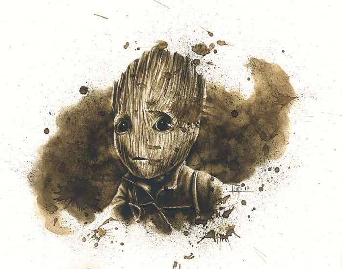Juan Antonio Abad Original Coffee Drawing Baby Groot