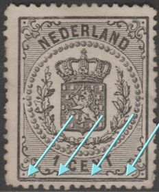 The Netherlands 1869 - Coat of Arms stamps with plate flaw 'split bottom line' - NVPH 14 P1, guide 8
