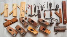 Collection of antique and new Nooitgedagt carpentry or cabinet maker utensils.