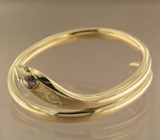 14K yellow gold hinge bracelet in the shape of a snake set with rose cut diamonds, approx. 0.50 carat in total