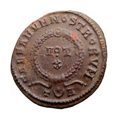 Roman Empire - Constantine I the Great (307 - 337 A.D.) bronze follis (2,55 g. 18 mm.). Arles mint, AD 321. VOT X. T crescent and star A. Hybrid issue. Rare.