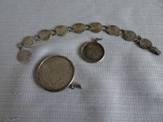 3 pieces of silver coin jewellery