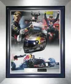 Signed Sebastian Vettel Red Bull Racing 1/2 scale Helmet Ltd Edition Display 2013 F1 Champ