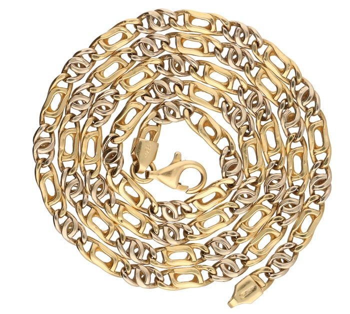 18 kt bi-colour yellow/white gold figaro link necklace - Length: 51.3 cm.