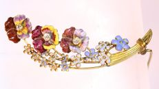 Victorian 14K brooch with enamel violets and forget-me-nots as symbols of love with 3 diamonds