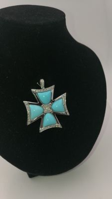 Exclusive Maltese Cross Pendant made of 18 kt white gold, diamonds, and large Turquoise stones. Low reserve.
