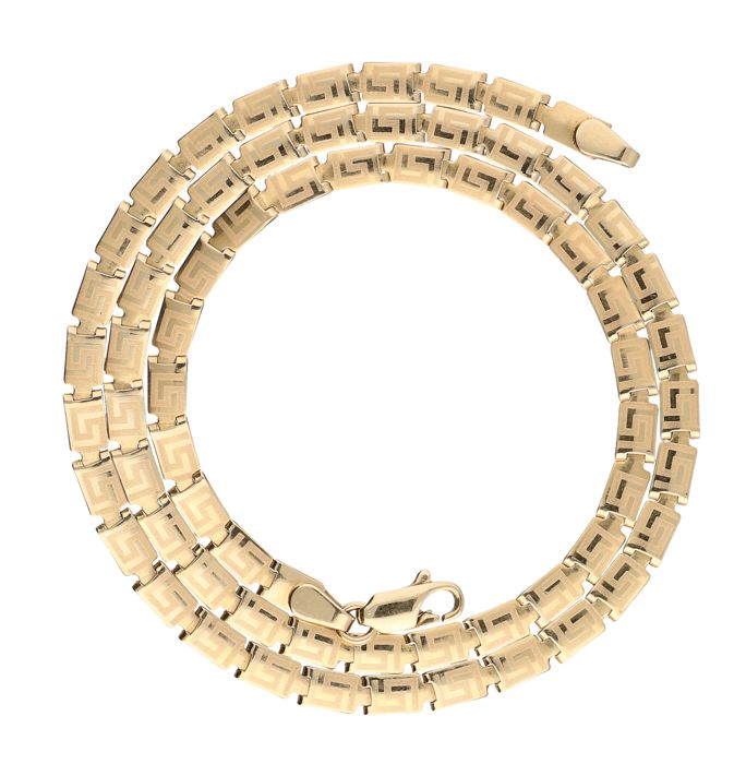 14 kt. Yellow gold, link necklace with Greek pattern - Length: 45 cm