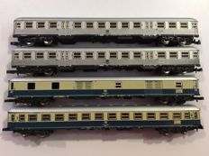 "Märklin Z - 4 Passenger carriages of the DB:  2 x ""Silberlinge"", 1 x baggage car and 1 x 2nd class carriage (1419)"
