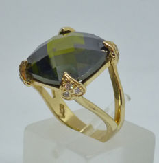 Ladies Ring 14 kt gold with cubic zirconia - Size: 51,5 (EU) ***No reserve***