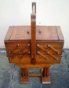 Old wooden foldable sewing box, 20th century