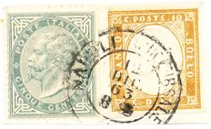 Sardinia 1863 – 10 cent bistro + Kingdom of Italy 1863 – 5 cent, grey-green, mixed franking on fragment cancelled in Naples