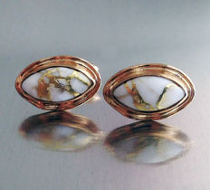 Vintage 1960s 9ct. Gold Cuff- Links set with Gold Veined Quartz.