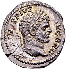 Roman Empire – Silver Denarius of Emperor Caracalla 198-217, struck in Rome