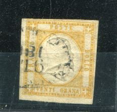 "Kingdom of Italy – Neapolitan Provinces – 20 grana, yellow, with ""Napoli Porto"" (Port of Naples) cancellation – Sassone n. 23"