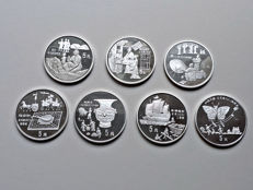 China - 5 Yuan 1992/1993 'Historical Figures' (lot of 7 coins) - Silver