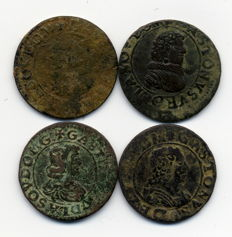 France (Dombes) – Gaston of Orléans (1628-1657) – Double Tournaments (lot of 4) – Copper