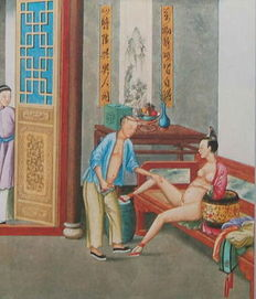 Oriental erotica; Print with chinese erotic image - Late 20th century