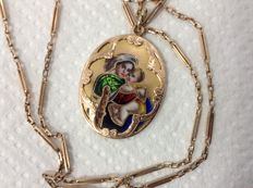 Pink gold necklace 14k with pendant icon Virgin Mary with Child, painting by enamel
