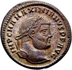 Roman Empire – Maximianus 286-310, AE silver-plated Follis struck in Heraclea 296-98 AD