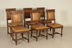 Group of six chairs in Neo-Renaissance style, early 1900, Italy
