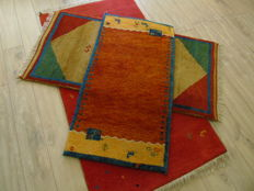 Set of Original Hand Knotted Indo Gabbeh 88x178,73x155,63x120!