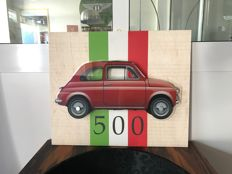Halmo Collection Fiat 500  plexiglass and wood frame