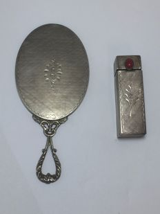 Antique purse Mirror with lipstick, Italy, mid 1900, Silver 800/1000
