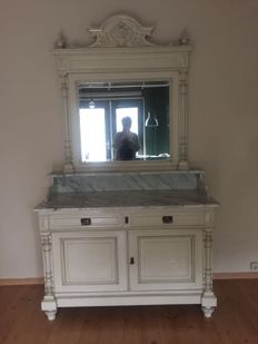Cabinet with a weathered cut mirror with marble top-piece and a marble cover plate - France - ca. 1920
