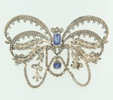 Gold and silver brooch pendant set with sapphire and 253 brilliant cut diamonds, approx; 4.00 ct in total