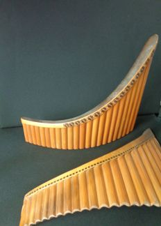2 x 22 pipes alto PAN FLUTES - bamboo - ca. 1950
