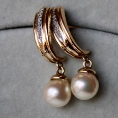 !14kt. Gold earrings with sea / salty genuine Japanese Akoya shiny round pearls of good quality and very small brilliants 8/8 cut H/SI Excellent state.