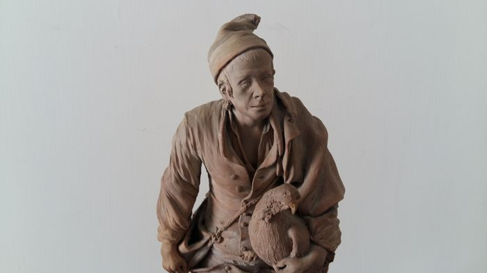 Bongiovanni Vaccaro workshop - terracotta figure depicting a farmer with hen - Caltagirone, Italy - 19th century