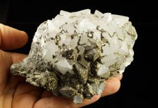 Big Quartz cluster with Pyrite on Fluorite sparkling specimen - 12,0 x 9,0 x 6,5cm - 739gm