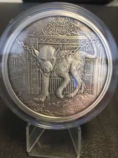 USA – 5 ounce medal 2017 'Nordic Creatures – Hellhound Garm' with certificate – 5 oz silver