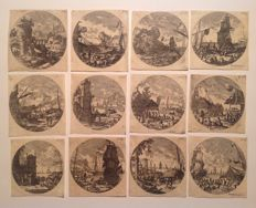 Gabriel Perelle (1603 - 1677) - 12 ovals of waterscapes - XIX century