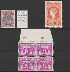 The Netherlands 1919/1926 – Small selection of plate flaws – NVPH 102 P, 105 P and 171 P
