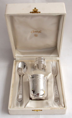 Christophe Dinner Set With Cup, Knife, Fork And Napkin Ring Made By Christofle, Paris, France c. 1935