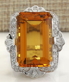 Certified 21.49 Carat Natural Citrine And Diamond Ring in 14K Solid White Gold  *** Free shipping *** No Reserve *** Free Resizing