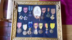 Beautiful gold plated frame with photo and medals of 14-18 and 40-45