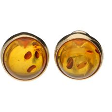 14 kt Yellow gold earrings, each set with amber – Diameter: 16 mm