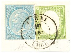 Sardinia, 1855/1863 - 5 cent yellowish green + Kingdom 15 cent light sky blue, London issue on letter fragment, cancelled at Terni.