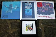 "Nirvana - ""Nevermind"" Gatefold Album & Unplugged in NY Both  Mint and Sealed;  Nirvana -"" Nevermind"" 180gram: Silver Wooden Framed CD Award Plaque with CD & Signed Cover (Signed in Print)."